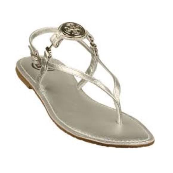 ee8ba2144454f Tory Burch Ali Silver Metallic Gold Thong Sandals.  M 5ab5b66dd39ca2bb58685337